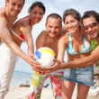 Volley team at the beach — Stock Photo