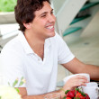 Man at breakfast — Stock Photo