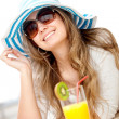 Summer girl having a cocktail — Stock Photo #7710227