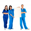 Doctors with an banner — Stock Photo #7710485