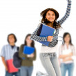 Stock Photo: College student jumping