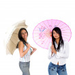 Girls with umbrellas — Stock Photo