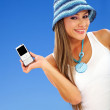 Woman with cel phone — Stock Photo