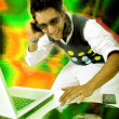 Disc jockey in action — Stock Photo