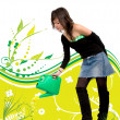 Girl watering a plant - Stock Photo