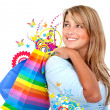 Casual woman with shopping bags — Stock Photo #7710647
