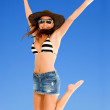Stock Photo: Beach woman jumping
