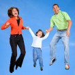 Stock Photo: Family on skies