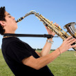 Stock Photo: Mplaying sax