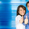 Thumbs up business  couple — Stock Photo