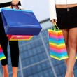 Stock Photo: With shopping bags