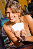 Woman at a casino — Stock Photo