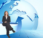 Global business woman — Stock Photo