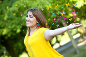 Woman with butterflies — Stock Photo