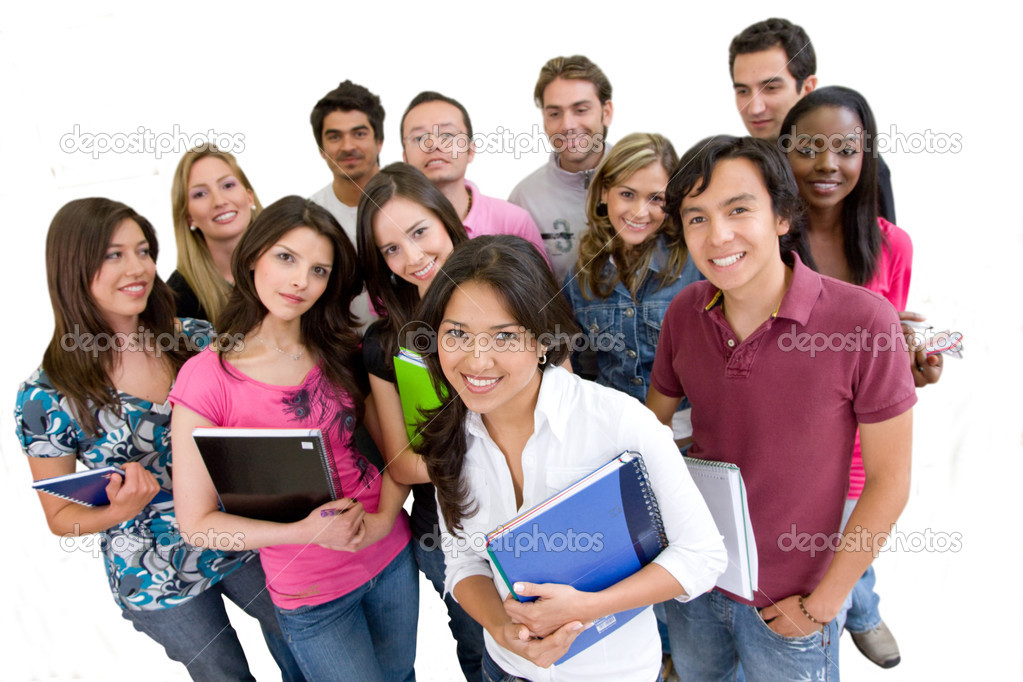 Happy group of students isolated over white — Stock Photo #7710506