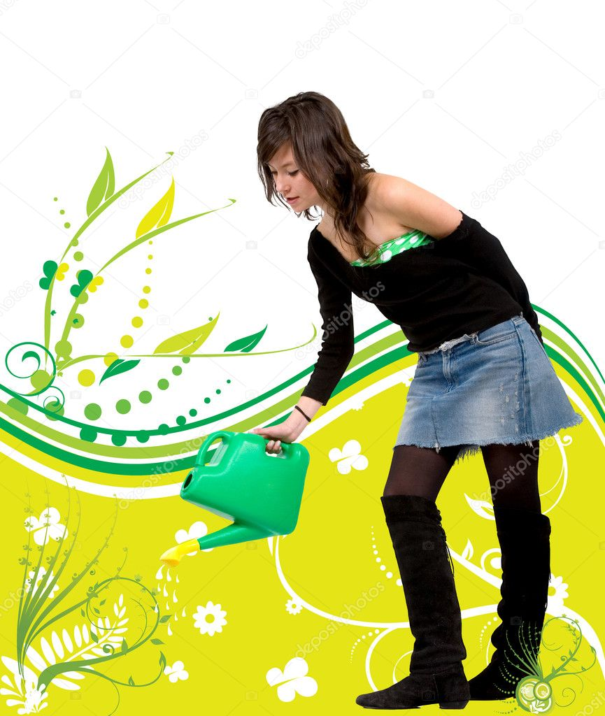 Illustration of a beautiful girl watering a plant — Stock Photo #7710646