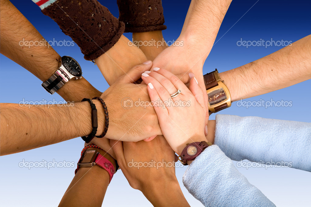 With their hands together in the middle — Stock Photo #7710703