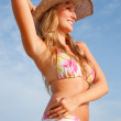 Bikini woman with hat — Stock Photo