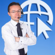 Business man with headset — Stock Photo