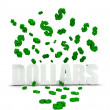 Dollar symbol raining over dollars - Stock Photo