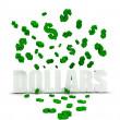 Dollar symbol raining over dollars — Stock Photo