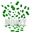 Dollars symbols raining over money — Stock Photo