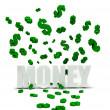 Dollars symbols raining over money — Stock Photo