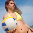 Beach woman with volleyball - Stock Photo