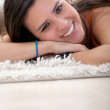 Girl lying on the floor - Foto de Stock  