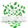 Dollar symbols raining over business — Stock Photo