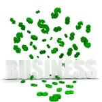 Dollar symbols raining over business — Stock Photo