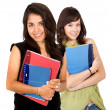 Foto Stock: Female students with notebooks