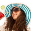 Summer woman with hat and a drink — Stock Photo #7731719