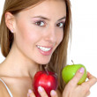 Woman portrait with two apples — Stock Photo