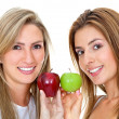 Stock Photo: Women with apples isolated