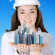 Female architect smiling — Stock Photo #7731779