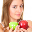 Woman with two apples — Stok fotoğraf
