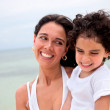 Mother and son at the beach — Stock Photo