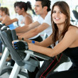 gym on cardio machines — Stock Photo