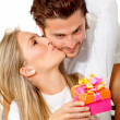 Woman getting a gift — Stock Photo