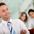 Man leading a business team — Stock Photo