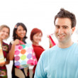 Royalty-Free Stock Photo: Man with shopping girls