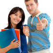 Stock Photo: Students with thumbs-up