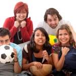 preoccupato di guardare il calcio — Foto Stock