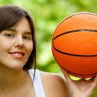 Woman with a basketball — Stock Photo #7732302