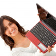 Woman holding a laptop — Stock Photo