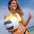 Bikini woman with a volleyball — Stockfoto