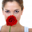 Woman with a rose - Stock Photo