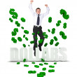 Excited business man in a dollar's rain — Stock Photo