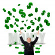 Business man in a money rain - Stock Photo